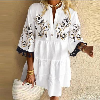 Women Floral Print Tassel A-Line Dress Vintage Half Sleeve Button Mini Dress