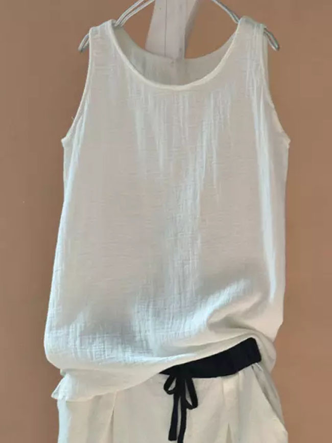 Vintage Cotton And Linen Shirt Casual Vest Sleeveless Ladies Tops