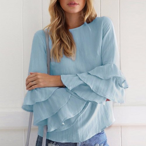 Spring Ladies O Neck 3/4 Sleeve Solid Tops Casual Loose Pullover