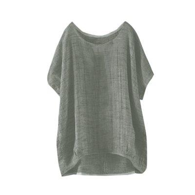 Bat Short Sleeve Round Neck Loose Shirts Summer Solid Thin Blouse