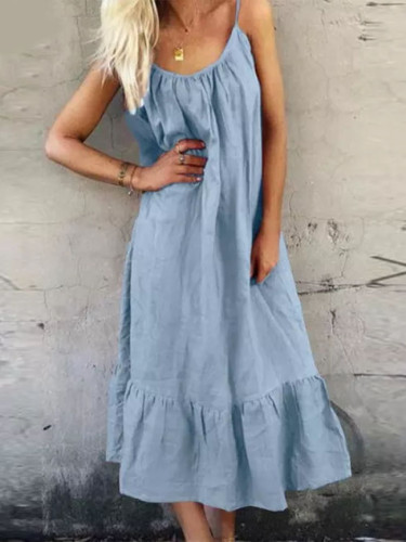 Bohemian Ruffle Dress Summer Casual Maxi Dresses