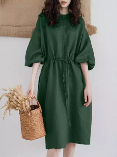 Summer Elegant Puff Sleeve Sundress O-neck Long Shirt Dress Casual Cotton Linen