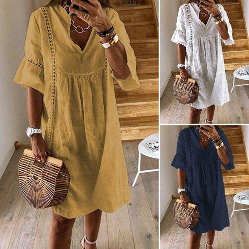 Summer Lace Dress Women's Fashion Flare Sleeve  Bohemian V Neck Party Shirt