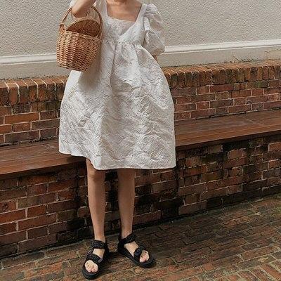 Fashion Women Clothes Sqaure Collar Lantern Sleeves Pullover Dress