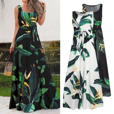 Women Summer Sundress Sleeveless Vintage Floral Print Casual Loose Ruffles