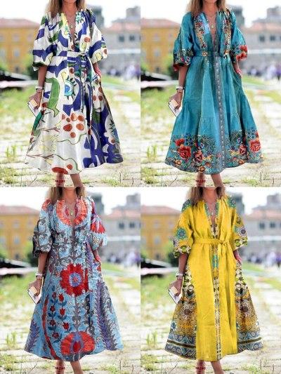 Summer Fashion Dress Women Print Deep V Collar Lacing Belt Clothing