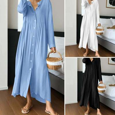 Women Vintage Shirt Sundress Fashion Maxi Dress Long Sleeve O-neck Casual