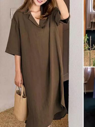 Women Casual Loose Shirt Dresses Pockets Knee-length Sundress