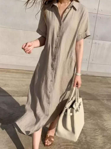 Spring Long Shirt Dress Women Cotton Linen Dresses Buttons Loose Solid Dresses