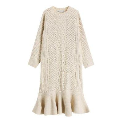 Women Autumn Winter Sweater Dress Loose O-Neck Warm Knitted Mermaid Dress