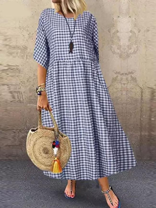 Women Plaid Dress Casual Cotton Linen Bohemian Beach Sundress