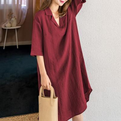 Women Casual Loose Shirt Dresses Pockets Knee-length Sundress