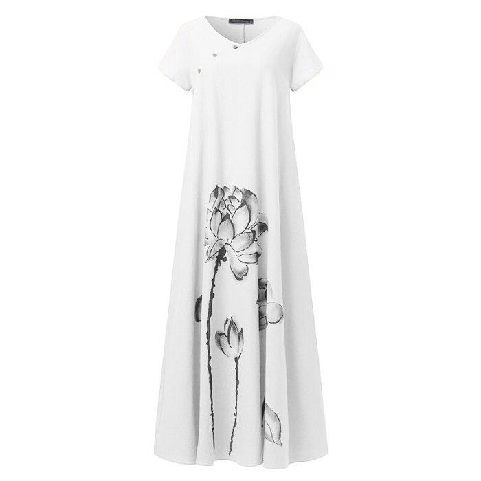 Elegant Printed Maxi Dress Women's Summer Casual Short Sleeve Button Robe