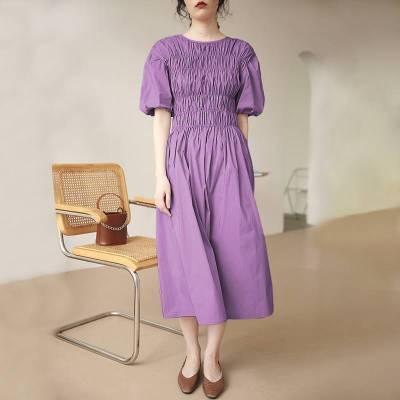 Summer Cotton Dress Casual Sleeve O Neck High Waist Maxi Dresses Elegant
