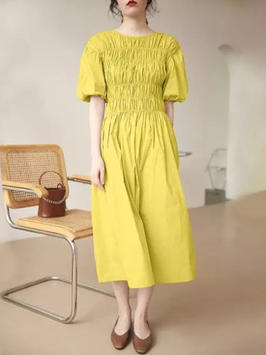 Summer Cotton Dress Casual Sleeve O Neck High Waist Maxi Dresses Elegant