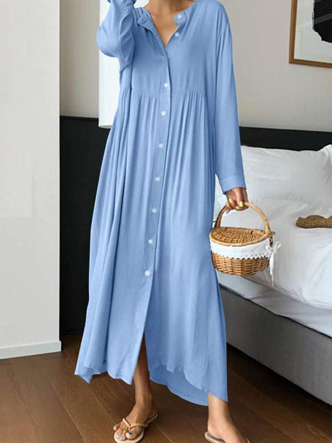 Women Vintage Shirt Sundress Fashion Maxi Dress Long Sleeve O-neck Casual