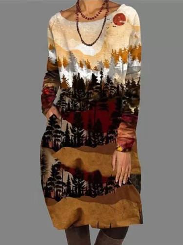 Vintage Printed Long Sleeve Pockets Dresses O Neck A-Line Knee Dress