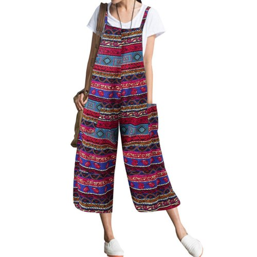 Summer Jumpsuit Women Pockets Print Cotton And Linen Sleeveless Loose Long Rompers