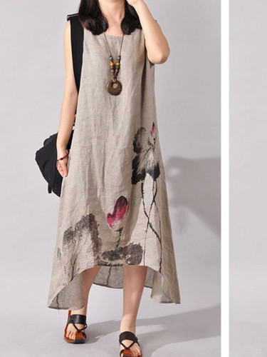Asymmetrical Summer Dress Fashion Print Floral Robe