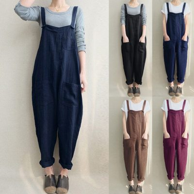 Womens Overalls Loose Romper Dungarees Jumpsuit Pockets Tank Pants