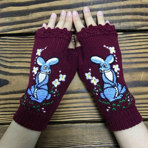 New Fashion Retro Gloves Handmade Flowers Elegant Embroidery Mitten