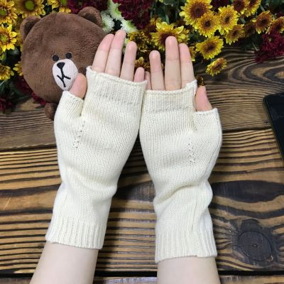 Knitted big butterfly gloves women's extended warm woolen gloves