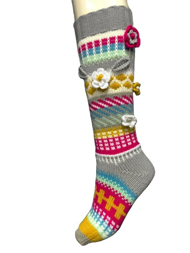 New autumn and winter long color socks ladies warm adult crocheted woolen socks