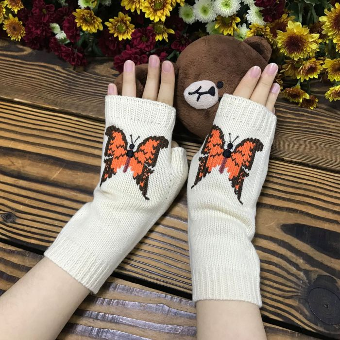 Knitted big butterfly gloves women's extended warm woolen gloves