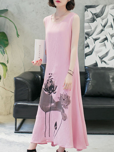 Summer new style cotton and linen dress women loose women's retro ink printing dress