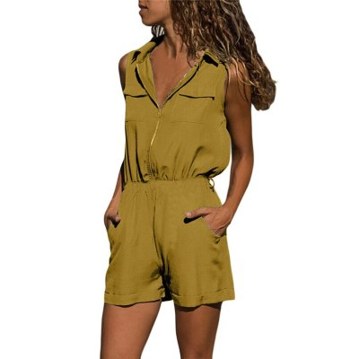 Womens Summer Beach Rompers Zippered V-Neck Solid Color Jumpsuit