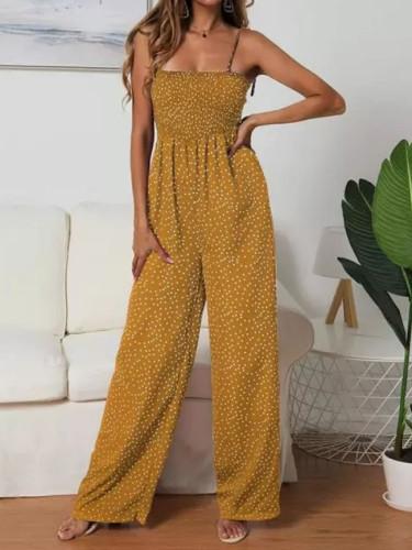 Women Polka Dot High Waist Rompers Yellow Wide Leg Pants Summer Jumpsuits