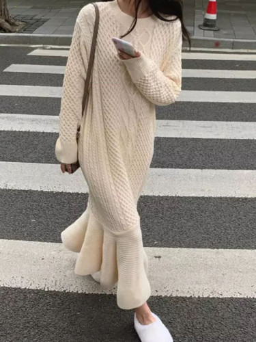 Women Autumn Winter Sweater Dress Loose O-Neck Warm Knitted Mermaid Dress
