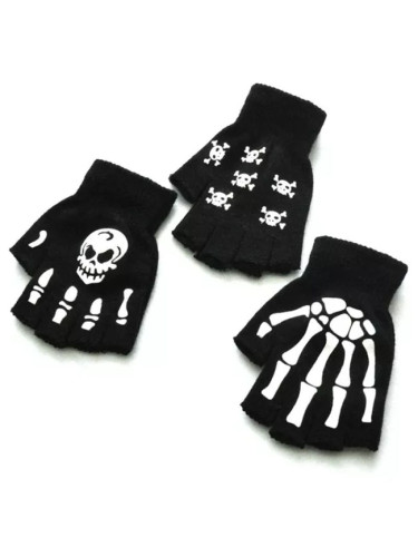 Halloween Style Gloves Horror Skull Claw Half Gloves Winter Hand Warmer