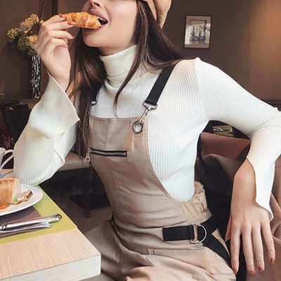 New fashion zipper suspenders jumpsuit multi-pocket casual pants