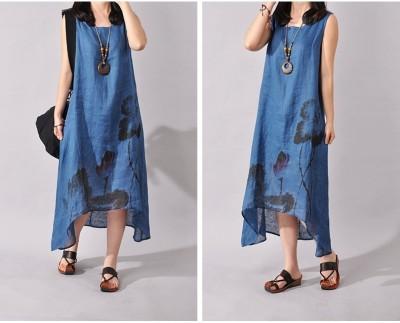 Asymmetrical Summer Dress Fashion Print Floral Robe