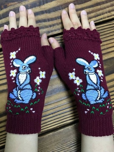 New Fashion Retro Gloves Handmade Flowers Elegant Embroidery Mitten