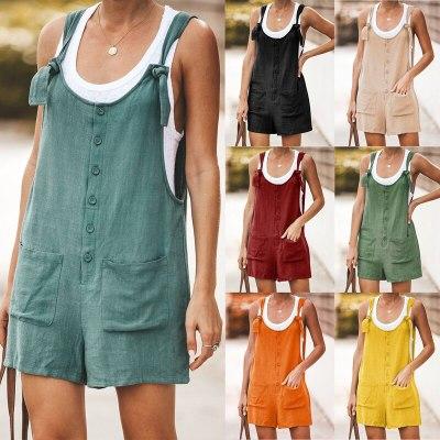 Womens Short Romper jumpsuit Cotton Lien Jump suit Casual Tracksuit