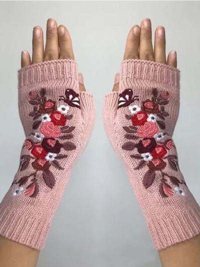 Mittens Embroidery Gloves Autumn Winter Women's Warm Gloves Wool Knitted Gloves