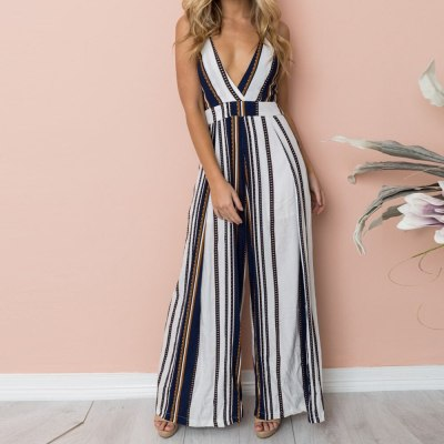 Womens Stripe Strappy Holiday Long Playsuits  Trouser Jumpsuit