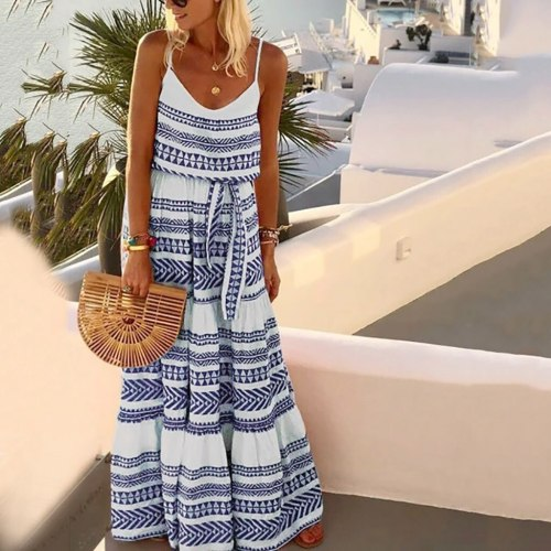 Women Loose Dress Sexy V-neck Striped Maxi Dress Evening Party Beach Dresses
