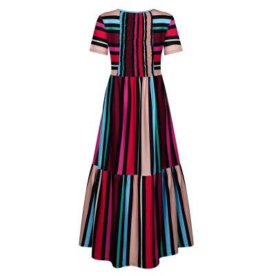 Rainbow Striped Polyester Long Dresses Summer Shirred Beach