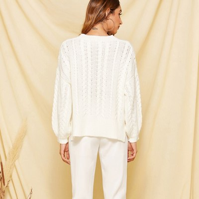 White sweater oversize loose pullover Autumn winter warm knit long sleeve sweaters