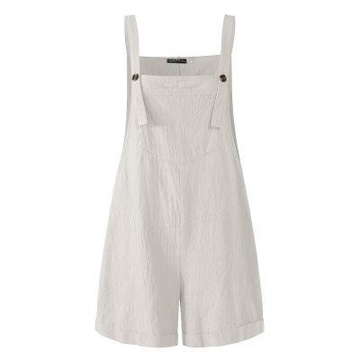Women's Summer Jumpsuits Linen Overalls Casual Suspender Rompers