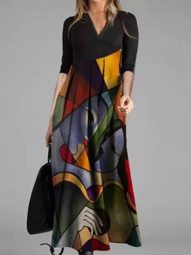 Autumn Winter Retro Print Party Dresses Cross V-Neck Long Sleeves Slim Midi Dress