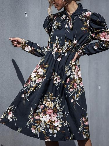 Autumn Elegant Fashion Slim Floral Dress High Wasit Butterfly Sleeve Black Dress