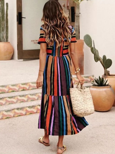 Rainbow Striped Polyester Long Dresses Summer Shirred Beach