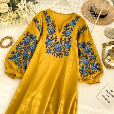 long sleeve Embroidery V-neck Loose robe Spring Autumn Dresses