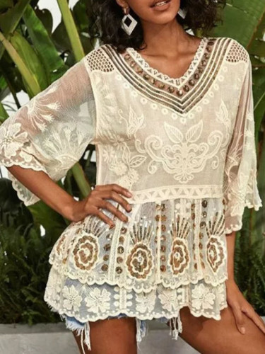 Sequin floral embroidery lace blouse shirt women sexy v neck cotton ruffles top