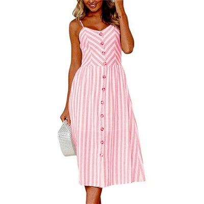 Summer Dress For Women Vintage Sexy Blue Stripe Dress