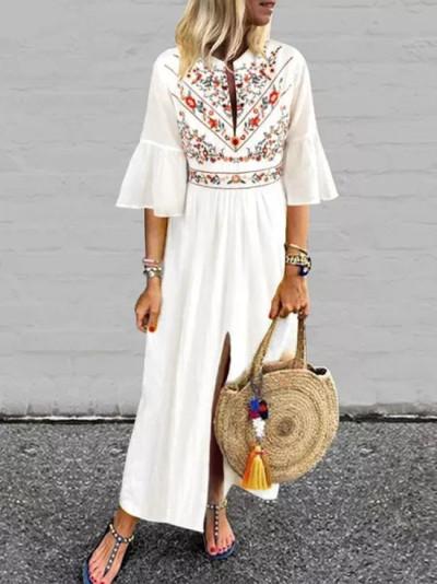 Women Vintage Print Dress Summer V Neck Ruffle Sleeve Split Long Dresses